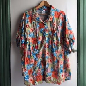 Tan Blue Orange Floral Short Sleeve Button Down 4X